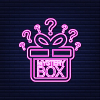Mystery box. packaging for concept design. surprise present. package design. help symbol. neon icon. vector stock illustration.