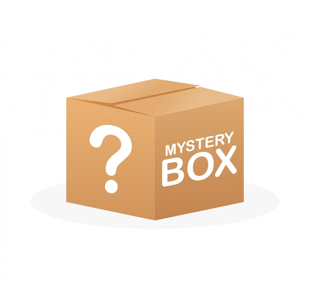 Mystery box. packaging for concept design. surprise present. package design. help symbol. question mark icon.  stock illustration.