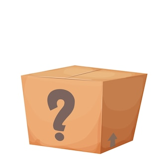 Mystery cardboard box with question closed present in cartoon style