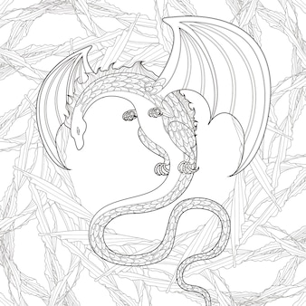 Mystery dragon coloring page in exquisite style