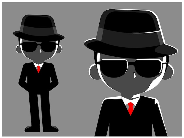 A mystery man in black suit