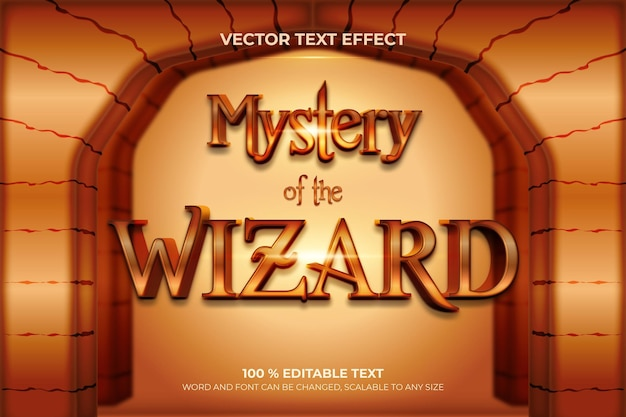 Mystery of the wizard editable 3d text effect with stone  backround style