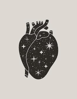 トレンディな自由奔放に生きるスタイルの神秘的なブラックハート。壁、tシャツ、タトゥー、ソーシャルメディアの投稿やストーリーに印刷するための星とベクトルシルエット解剖学的ハート