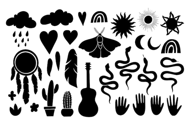 神秘的な自由奔放に生きるゴシックシンボルセット。リノカットグラフィックスタイルのボヘミアンシンボル。コレクションのシルエットは、太陽、月、ドリームキャザー、蛾、ヘビ、羽、手です。白い背景で隔離のベクトルイラスト。
