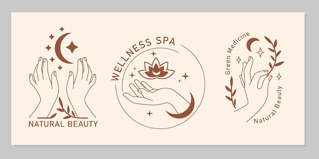 Mystic boho set of elegant female hands with moon, star, plant, flower in line art. vector magic symbol isolated on beige background. trendy minimalist signs for design of cosmetics, jewelry, beauty