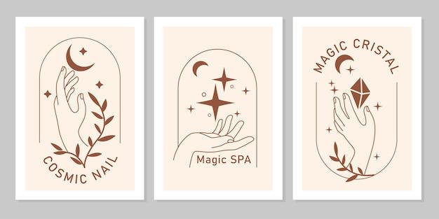 月、星、植物、線画の宝石とエレガントな女性の手の神秘的な自由奔放に生きるセット。ベージュの背景に分離されたベクトル魔法のシンボル。化粧品、ジュエリー、美容のデザインのためのトレンディなミニマリストの兆候