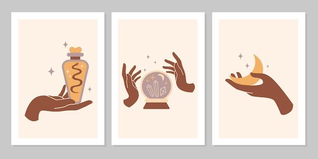 여성의 손과 상징, 달, 크리스탈, 뱀, 별, 유리의 신비로운 보헤미안 세트. 벡터 마법의 평면 그림입니다. 화장품, 보석, 수제 제품, 배경 디자인을 위한 최신 유행의 미니멀리스트 표지판