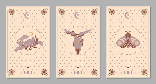 Mystic boho set poster with animals and symbols, moon, moth, rabbit, goat, snake, star for tarot card. vector magic flat illustration. trendy minimalist signs for design of cosmetic, background
