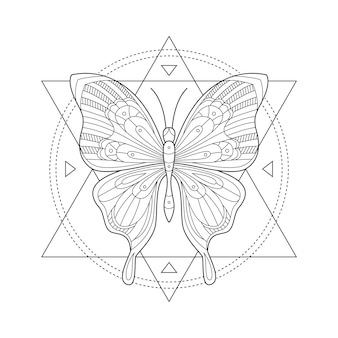 Mystic butterfly. sacred geometry. butterfly in triangles and circes.
