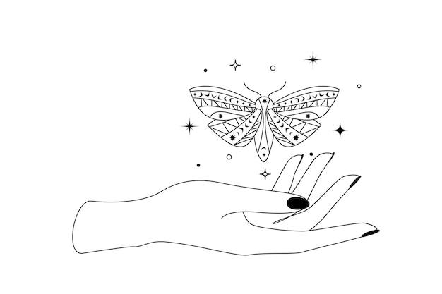 女性の手の輪郭のシルエットの上に星座の星と神秘的な天の蝶。魔女の蛾と魔法のシンボルのベクトルイラスト。
