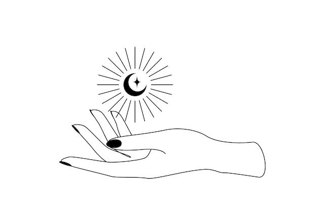 여성의 손 윤곽선 실루엣 위에 햇살이 비치는 신비한 하늘의 초승달. boho 마녀와 마법의 상징의 벡터 일러스트 레이 션.