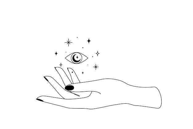 Мистический небесный глаз со звездами созвездия над силуэтом набросков руки женщины. иллюстрация