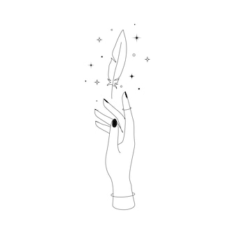 女性の手の輪郭のシルエットの上に星座の星と神秘的な天体の空飛ぶ羽。魔女と魔法のシンボルのベクトルイラスト。