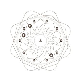 白い背景の上の神秘的な幾何学の精神的な入れ墨 Premiumベクター