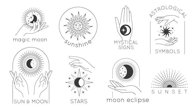 星、太陽、月のラインのロゴが付いた神秘的な手。魔法の女性の手、夕日と太陽の光の最小限のベクトルセットと占星術の秘教のデザイン。神秘的な兆候と占星術の宇宙のシンボル