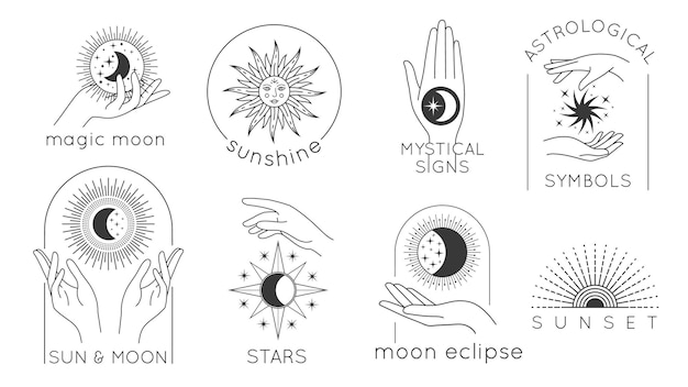 Mystic hands with star, sun and moon line logos. astrology esoteric design with magic woman hands, sunset and sunshine minimal vector set. mystic signs and astrological cosmos symbols