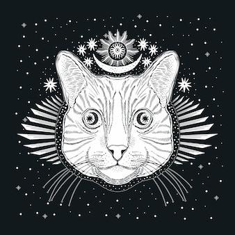 Mystic magic cat. portrait face head hand drawn vintage style.