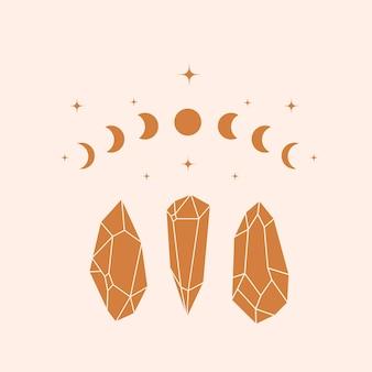 Mystic and magic crystals calestial vector illustration