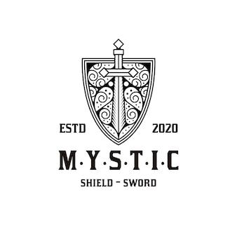 神秘的な盾の剣のロゴデザイン