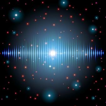 반짝임이 있는 신비한 빛나는 사운드 기호