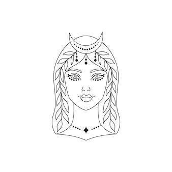 Мистическая женщина с полумесяцем на голове. линия искусства векторные иллюстрации.