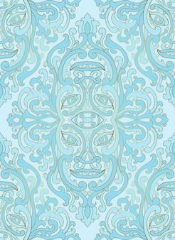 抽象的な顔を持つ神秘的な抽象的なパターン。シームレスな青い飾り。
