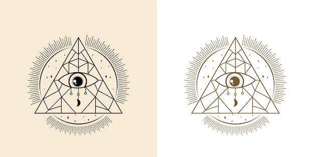신비로운 모든 것을 보는 눈 손으로 그린 마법 요술 부적 마법 같은 밀교 눈 신성한 기하학