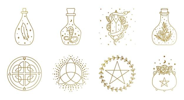 벡터에서 메이슨 항아리 뱀 가마솥과 오각형 기호 신비하고 마법의 로고 컬렉션