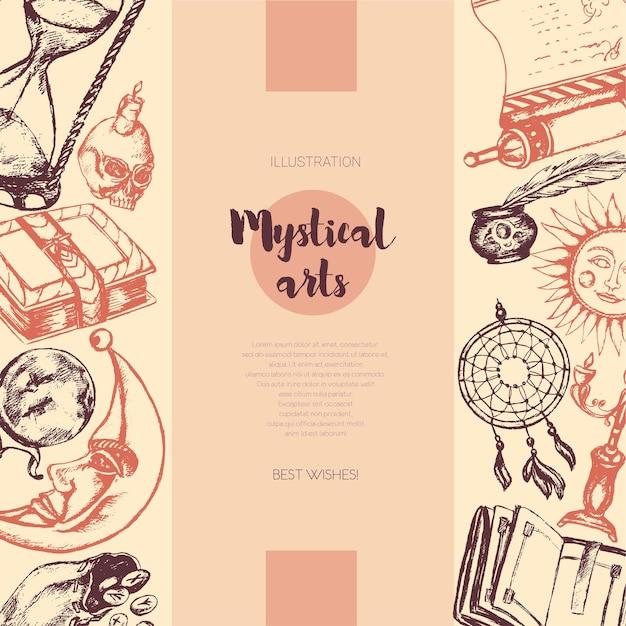Мистические искусства - цветной вектор, нарисованный старинный баннер, копией пространства. реалистичный свиток, гримуар, ручка, чернильница, хрустальный шар, свеча, череп, ловец снов, подсвечник, мешок с рунами, книга, солнце, луна, песочные часы