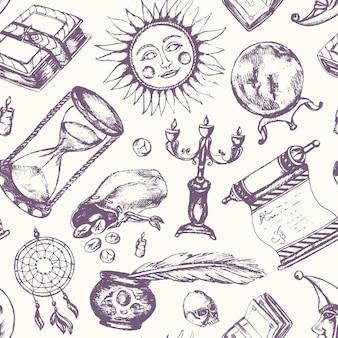 Мистические искусства - вектор оттянутый бесшовный образец. реалистичный свиток, гримуар, перо, чернильница, хрустальный шар, свеча в черепе, ловец снов, подсвечник, мешок с рунами, книга, солнце, луна, песочные часы