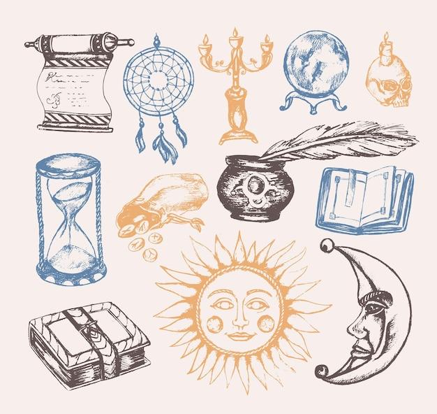 Мистические искусства - векторные винтажные иллюстрации. реалистичный свиток, гримуар, перо, чернильница, хрустальный шар, свеча в черепе, ловец снов, подсвечник, мешок с рунами, книга, солнце, луна, песочные часы
