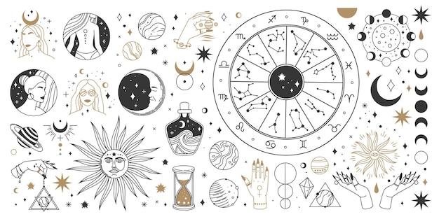 신비로운 점성술 보호 천상의 마법 신비로운 요소 신성한 신비로운 달 태양 별 조디악 기호