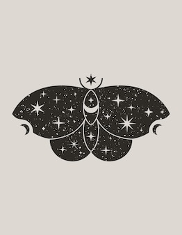 Мистическая черная бабочка в модном стиле бохо. векторный силуэт волшебного мотылька со звездами и луной для печати на стене, футболке, татуировке, сообщениях в социальных сетях и рассказах