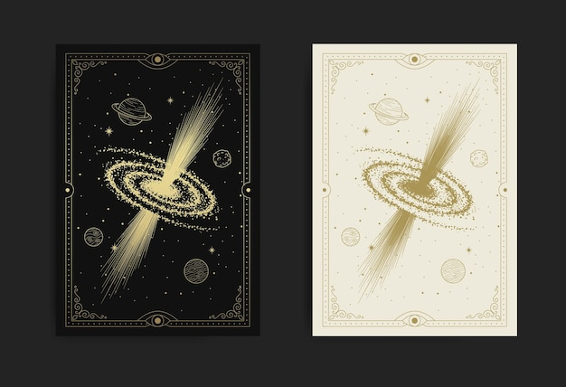 Mystical black hole at starry space luxury engraving illustration