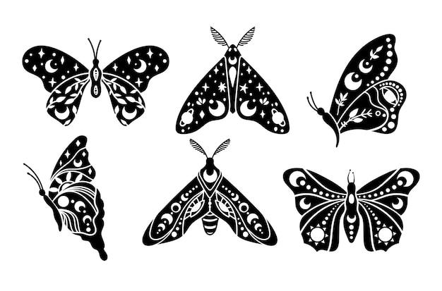 신비로운 boho 하늘 나비와 나방 고립 된 클립 아트 번들 신비로운 컬렉션