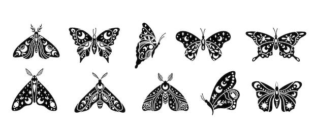 Мистическая бохо небесная бабочка и мотылек изолированные клипарты набор мистических лунных звезд эзотерика