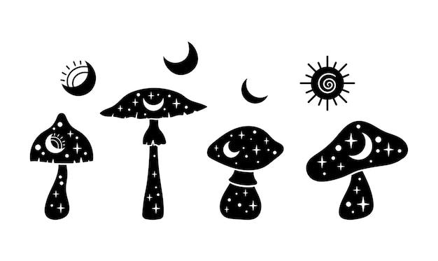 신비로운 boho 버섯 고립 클립 아트 세트 마술 라인 하늘 버섯 달과 별