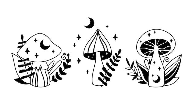 神秘的な自由奔放に生きるキノコ孤立クリップアートセットマジックライン天体キノコベクトルイラスト