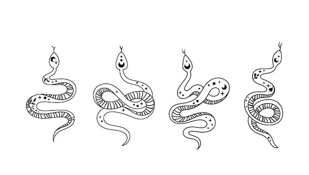 신비로운 boho 뱀 클립 아트 천상의 파충류 해와 달 기호 공간 마법의 뱀 벡터