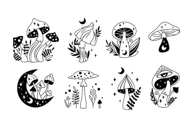신비로운 보헤미안 마녀 버섯 고립 클립 아트 세트 마술 라인 하늘의 버섯 달과 별