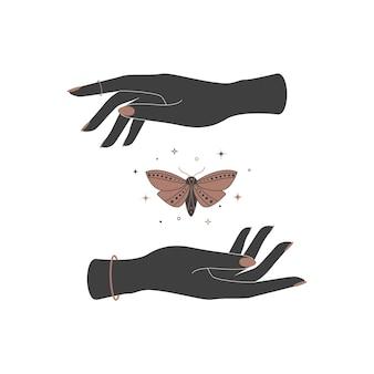女性の手の間の神秘的な天の蝶の蛾精神的な魔法ベクトルイラスト