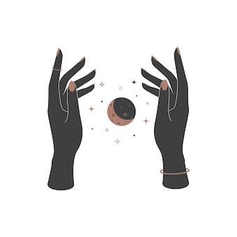 ヴィンテージスタイルの女性の手の間の神秘的な天体の三日月。ブランド名のロゴの精神的なエレガントなシンボル。秘教の魔法のベクトル図 Premiumベクター