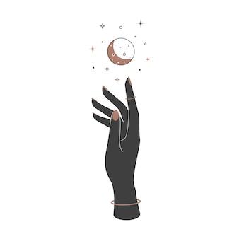 ヴィンテージスタイルの女性の手の上に神秘的な天の三日月。ブランド名のロゴの精神的なエレガントなシンボル。秘教の魔法のベクトル図