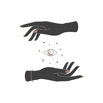 女性の手の間の神秘的な天体の目。精神的なシンボル。秘教の魔法のイラスト