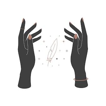 여자 손 사이의 신비로운 천상의 깃털. 브랜드 이름 로고를 위한 영적 우아한 깃펜. 밀교 마술 벡터 일러스트 레이 션