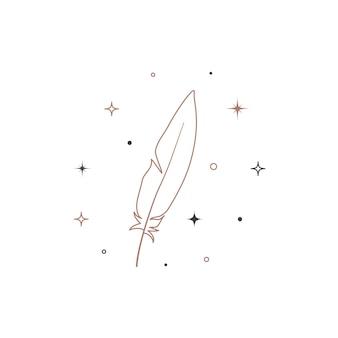 神秘的な天体の羽の輪郭。ブランド名のロゴのための精神的なエレガントなクイル。秘教の魔法のベクトル図