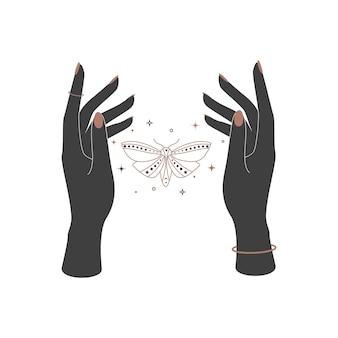 女性の手の間の神秘的な天の夜の蝶。ブランド名のロゴのための精神的なエレガントな蛾。秘教の魔法のベクトル図