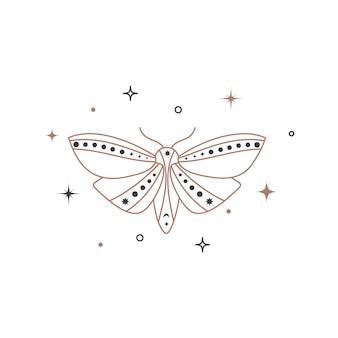 神秘的な天の夜の蝶。ブランド名のロゴのための精神的なエレガントな蛾。秘教の魔法のtatoo。ベクトルイラスト