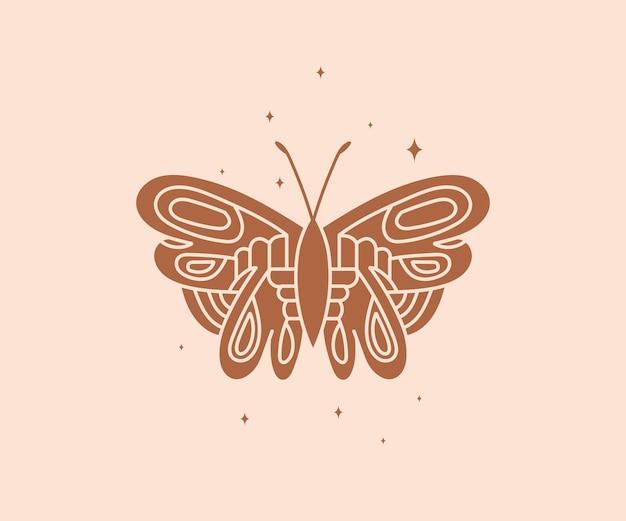 神秘的な天の夜の蝶の精神的なエレガントな蛾のブランド名のロゴ秘教の魔法