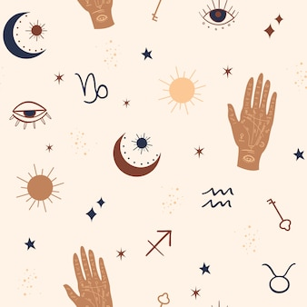 Mystical and celestial seamless pattern with eyes, stars, palm and zodiac elements.